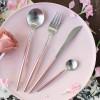 304不锈钢刀叉 粉银牛排刀叉勺套装家用不锈钢西餐餐具套装